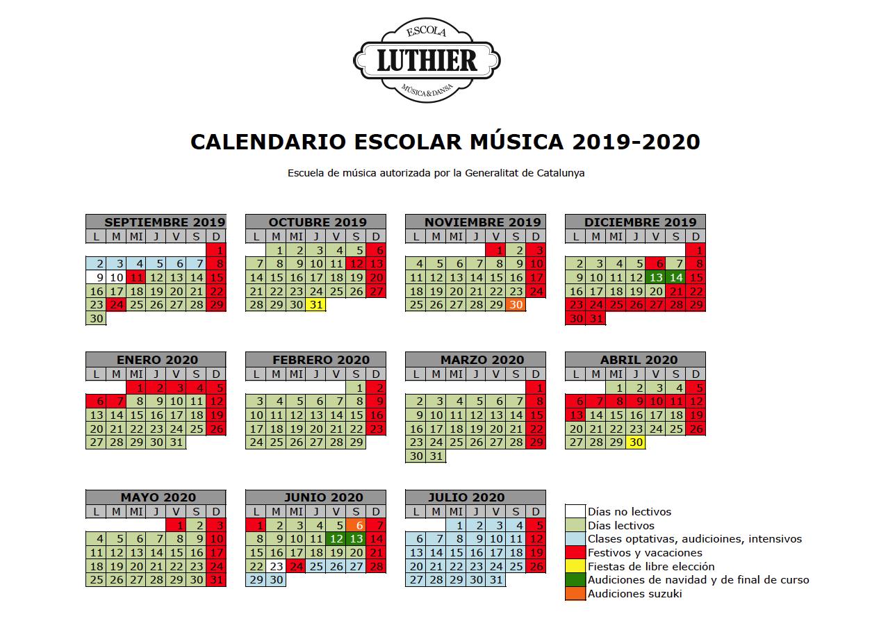 Calendario Catalunya 2020.El Calendario Escolar 2019 2020 Escola Luthier De Musica